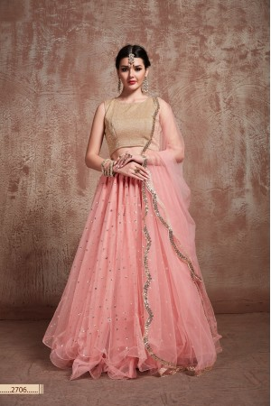 Baby pink net sequins wedding lehenga