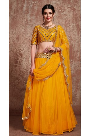 Mustuard color mirror work wedding lehenga choli