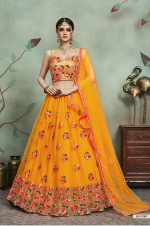 Mustuard color net sequins wedding lehenga