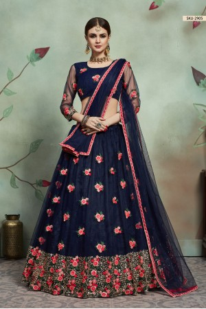 Navy blue net sequins wedding lehenga