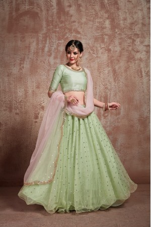 Pista Green net sequins wedding lehenga