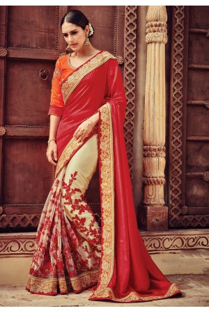Cream and red color art dhupion silk designer party wear saree