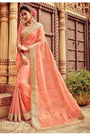 Peach color viscous georgette designer party wear saree