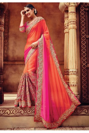 Pink and peach color georgette and net designer party wear saree