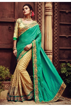 Teal green and beige color crepe silk designer party wear saree