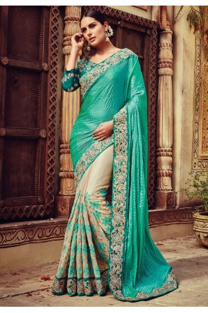 Teal green and beige color crushed crepe designer party wear saree