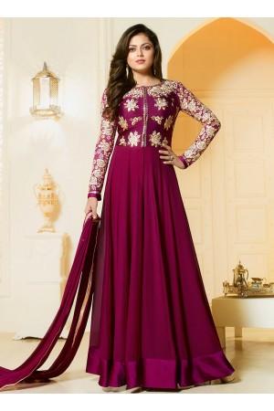 Drashti Dhami magenta color georgette party wear salwar kameez