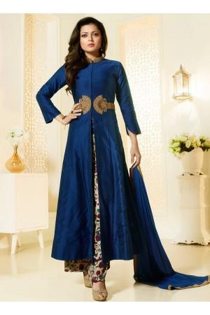 Drashti Dhami Navy blue chanderi silk palazzo style salwar kameez