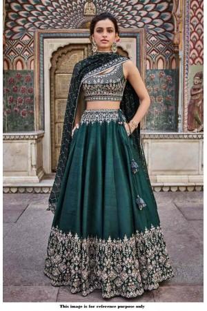 Bollywood Anita Dongre Inspired Emerald green silk lehenga