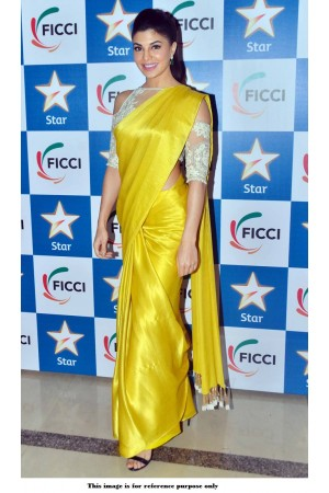Bollywood Jacqueline Fernandez yellow color crepe saree