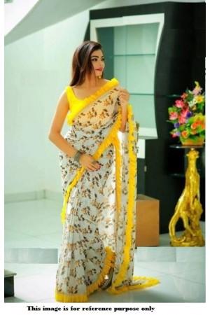 Bollywood Model Grey Organza ruffle border saree