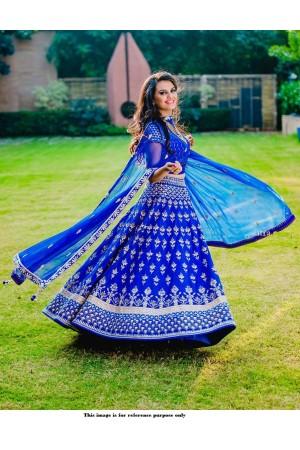 Bollywood model Royal blue silk wedding lehenga choli