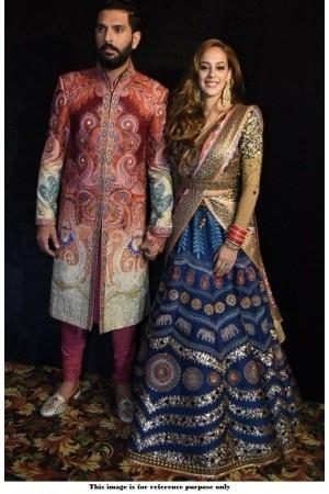 Bollywood model Digital print wedding lehenga