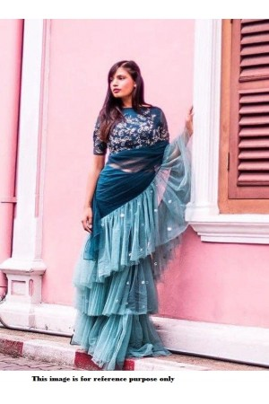 Bollywood Model Teal georgette ruffle saree