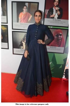 Bollywood Neha Dhupia Banglori silk Navy blue Gown