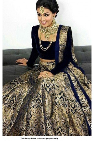 Bollywood model Navy blue brocade wedding lehenga choli