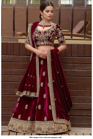 Bollywood Model Velvet maroon color wedding lehenga