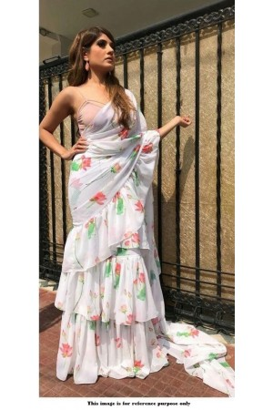 Bollywood model white georgette Ruffle saree