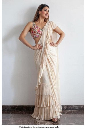 Bollywood model Off white georgette ruffle saree