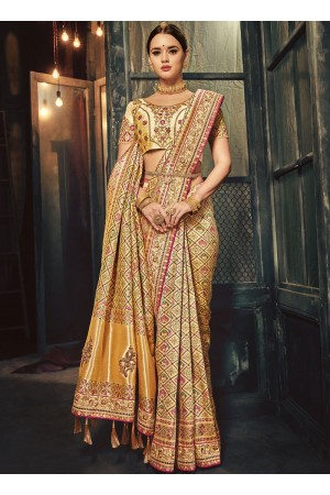 Gold and beige Banarasi pure silk wedding wear saree