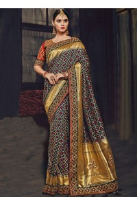Multi color Banarasi pure silk wedding wear saree
