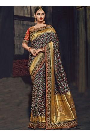 Multi color Banarasi pure silk wedding wear saree