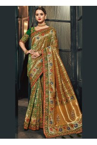 Emerald green Banarasi pure silk wedding wear saree