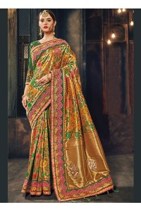 Green Banarasi pure silk wedding wear saree