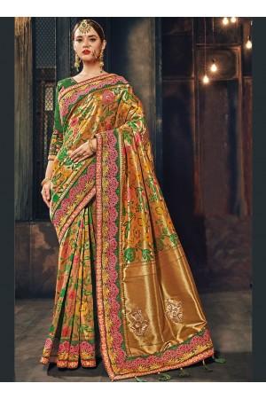 Green Banarasi pure silk wedding wear saree