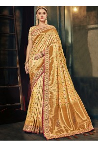 Cream color Banarasi pure silk wedding wear saree