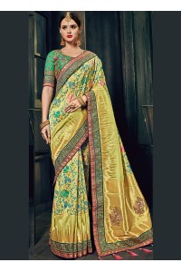 Pista green Banarasi silk pure wedding wear saree
