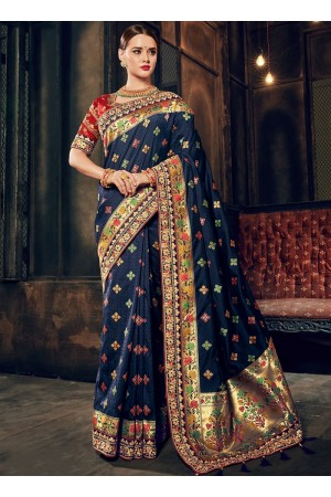 Navy blue Banarasi pure silk wedding wear saree