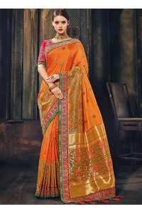 Orange and pink Banarasi pure silk wedding wear saree