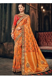 Orange and red Banarasi  pure silk wedding wear saree