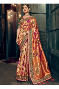Peach and green Banarasi pure silk wedding wear saree