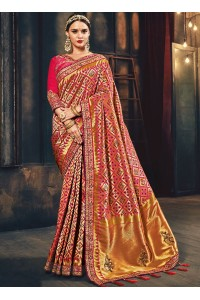 Pink Banarasi silk pure wedding wear saree