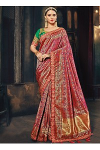 Pink and green Banarasi pure silk wedding wear saree