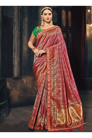 Pink and green Banarasi pure silk wedding wear saree