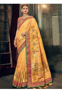 Yellow and pink Banarasi pure silk wedding wear saree