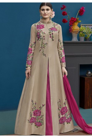 Beige Silk Flower Embroidery Lehenga Style Suit 10123