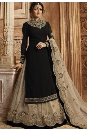 Black Satin Georgette Lehenga and Churidar Designer Suit 3007