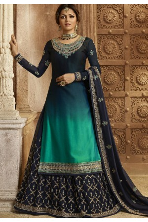 Gradient Blue Satin Georgette Lehenga and Churidar Designer Suit 3002