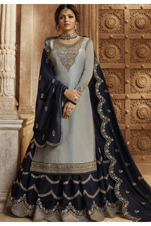 Grey and Blue Satin Georgette Lehenga and Churidar Designer Suit 3009