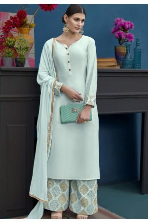 Light Blue Silk Palazzo Style Suit 10124