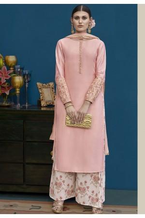 Light Pink Silk Palazzo Style Pakistani Suit 10128