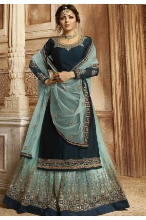 Navy Blue Satin Georgette Lehenga and Churidar Designer Suit 3005