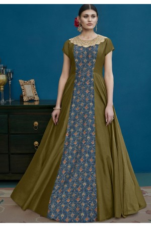 Olive Green and Blue Silk Long Anarkali Suit 10125
