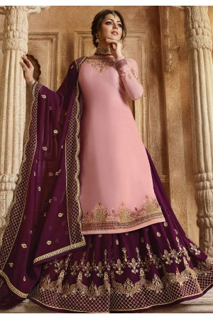Pink and Purple Satin Georgette Lehenga and Churidar Designer Suit 3006