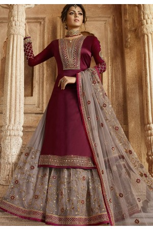 Wine and Grey Satin Georgette Lehenga and Churidar Designer Suit 3003