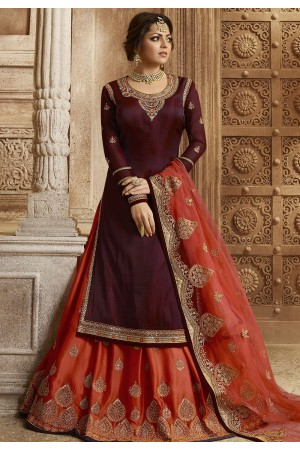 Wine and Orange Satin Georgette Lehenga and Churidar Designer Suit 3008